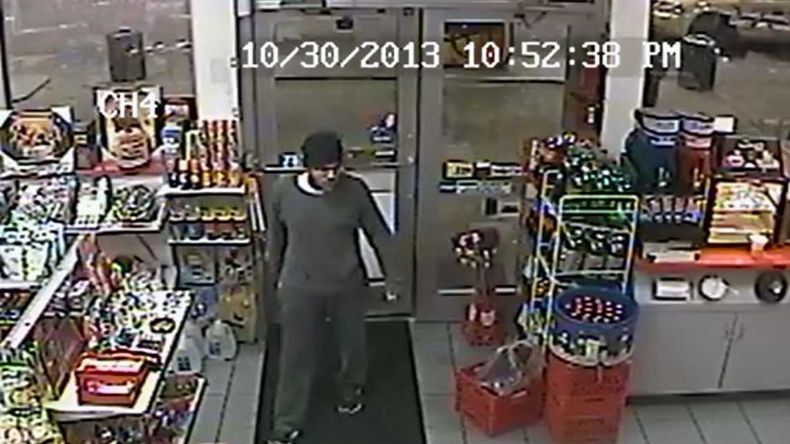 Police released this surveillance camera image of one suspect in the attempted robbery.