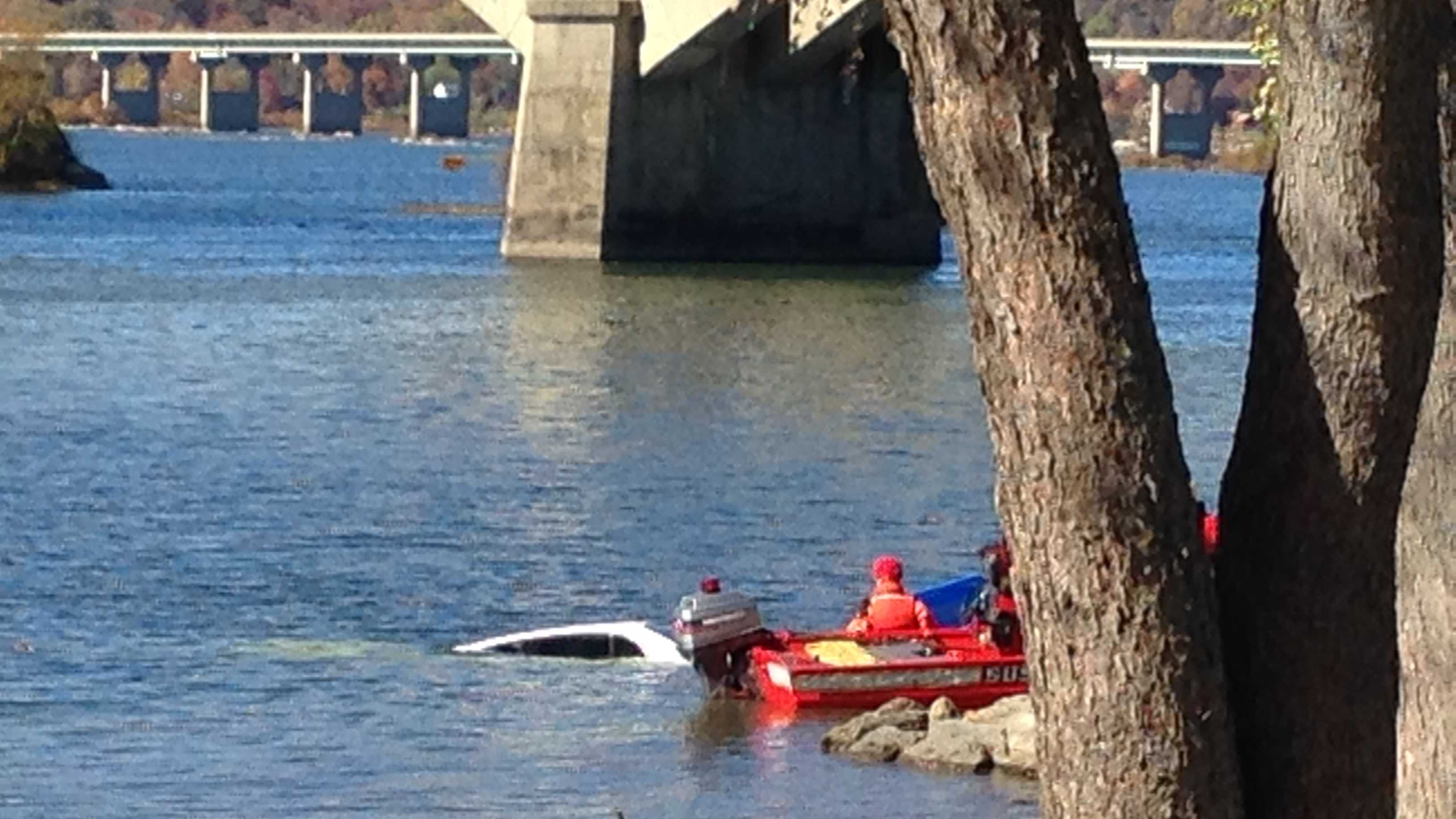Vehicle in river