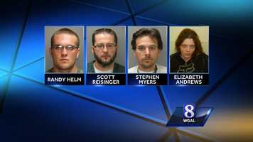 Tuesday, Nov. 5:Columbia Borough police have arrested and charged four people in a burglary that happened early Tuesday. Randy Helm II, 22, Stephen Myers, 34, Scott Reisinger, 34, and Elizabeth Andrews, 27, are accused of smashing windows to get inside a home in the 300 block of Walnut Street about 3 a.m. Tuesday, police said. The assailants wore masks, carried baseball bats and identified themselves as cops, they said. Several people inside the home were able to get out, but two women could not, police said. One of them was sexually assaulted and the other, Lindsay Trout, suffered a broken arm after she was hit with a bat several times, they said. Trout said the group was demanding money, but did not get any. She was able to call police. Investigators said police stopped the getaway car, which was driven by Andrews, in the alley behind the home when it struck a curb. All four suspects are facing similar charges, including burglary, attempted robbery, aggravated assault and criminal conspiracy.