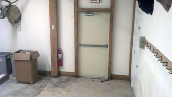 This is the club's back door, which Davis apparently used to escape when a club member arrived Friday morning.
