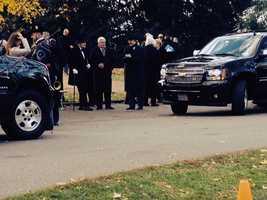 Gov. Tom Corbett talks with the man portraying President Abraham Lincoln.