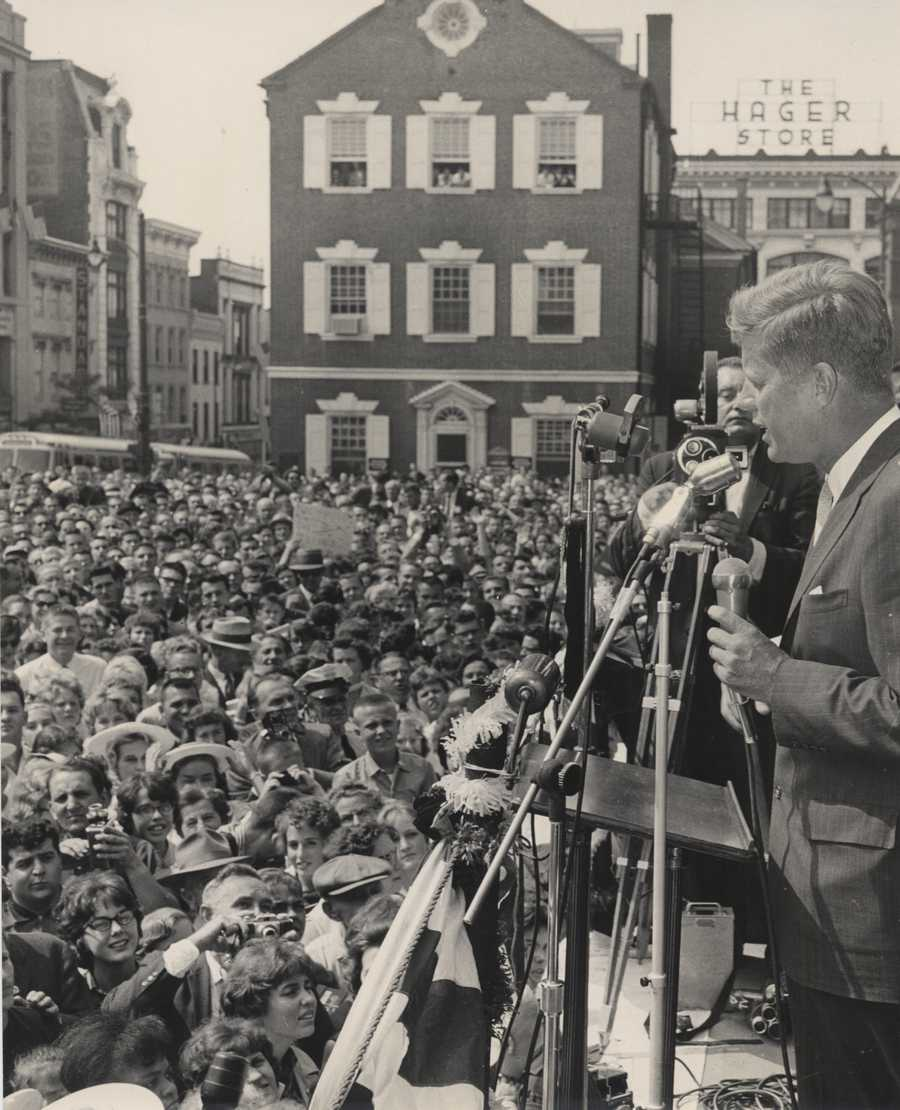 Kennedy, who would go on to defeat Richard Nixon in the election, spoke to a crowd at Penn Square.