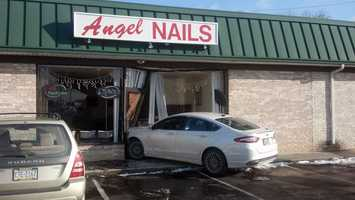 A car crashed into a nail salon Wednesday morning in Hampden Township, Cumberland County.