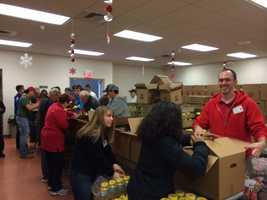 The Salvation Army was handing out toys and food in York on Wednesday.