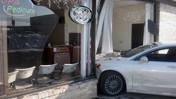 Wednesday, Dec. 18:A car crashed into a nail salon Wednesday morning in Hampden Township, Cumberland County. The crash happened about 9:45 a.m. Wednesday at the Westover Plaza. Two women -- 82-year-old driver and 79-year-old passenger -- were on their way to a fitness center. The driver told firefighters she lost control on ice in the parking lot and drove into the nail salon. Neither woman was hurt. The salon was not yet open so nobody was inside.
