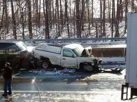 Four separate crashes, involving about 35 vehicles, happened Thursday morning on the Pennsylvania Turnpike.