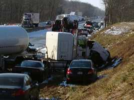 Thursday, Dec. 26: A series of crashes, involving about 35 vehicles, closed part of the Pennsylvania Turnpike for hours on Thursday. Three vehicles hit a Turnpike plow truck in the third crash. At least nine people were transported to a hospital. Turnpike officials said drivers were going too fast for road conditions. The crashes happened in a span of about 25 minutes and within about 3 miles of each other.
