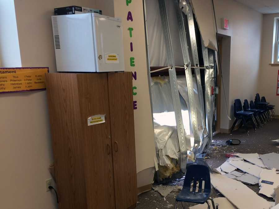 Nobody was injured when the car crashed into a children's activity room at the church.
