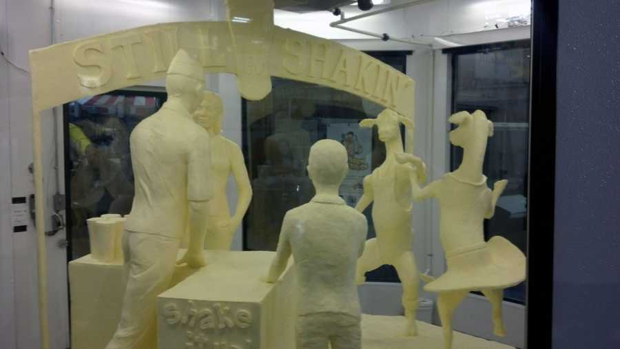 The sculpture is a celebration of the 60th anniversary of the Farm Show milkshake.