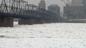 News 8 reporter Porcha Johnson snapped these shot of the icy Susquehanna in Harrisburg on Friday afternoon.