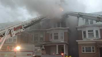 Firefighters battled a blaze Friday afternoon in midtown Harrisburg.