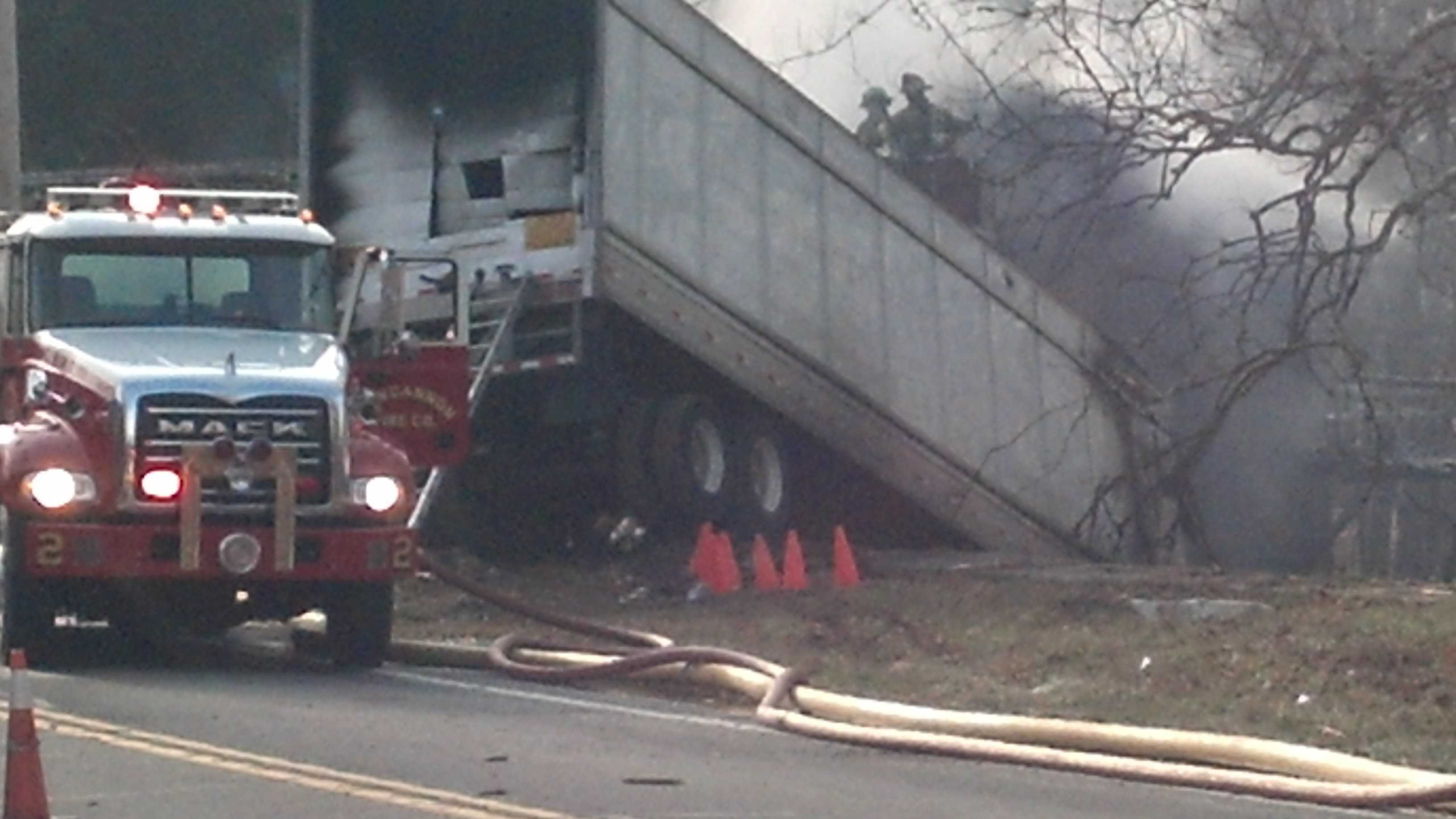 The truck caught fire and the house was destroyed. The accident happened in Reed Township off Route 147 around 1 p.m.