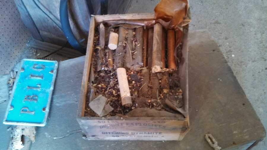 Police shared this photo of a stash of 50-year-old dynamite that was found in a Cumberland County barn on Thursday.