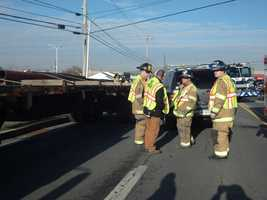 A flatbed tractor-trailer and SUV collided Friday morning around 10, sending one person to the hospital.