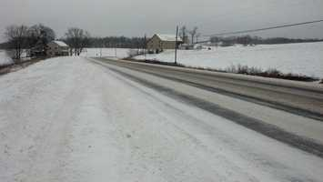 This is Centerville Rd in Newville, 2 p.m. Tuesday. The snow on the lef thand side of the road is blown from the nearby field. Drifting will be a concern on the western part of Cumberland County.