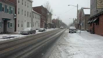 Snow falling on Main Street in Mechanicsburg, 2:50 p.m. Tuesday.