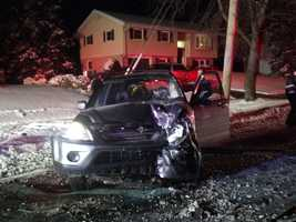 """A car was apparently """"perpendicular"""" sliding on the road going northbound when it was struck by an SUV going southbound, police say."""