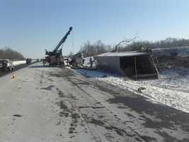 The tractor-trailer driver was killed.