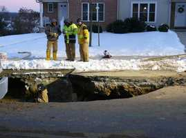 A water main break opened a sinkhole in East Hempfield Township, Lancaster County.