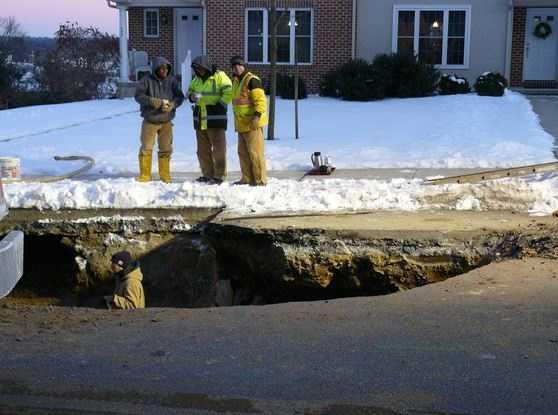 A water main break opened a sinkhole in East Hempfield Township, Lancaster County.