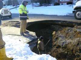 The sinkhole opened on Thursday.