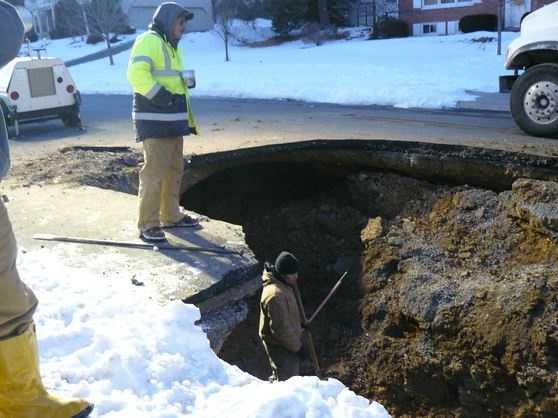 The sinkhole opened on Thursday.