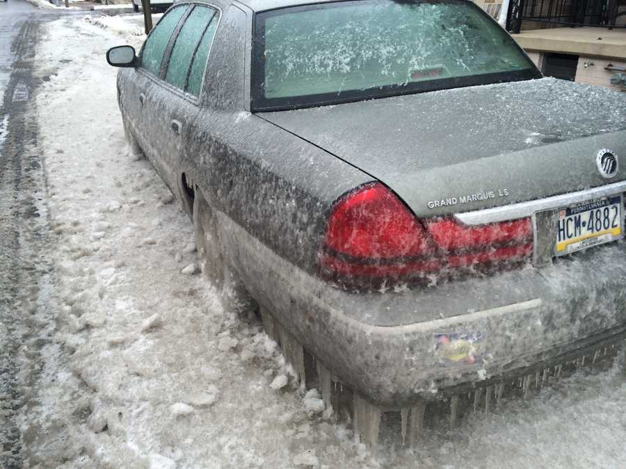 It's going to take a bit more than antifreeze to free several cars frozen to the ground in Lancaster.