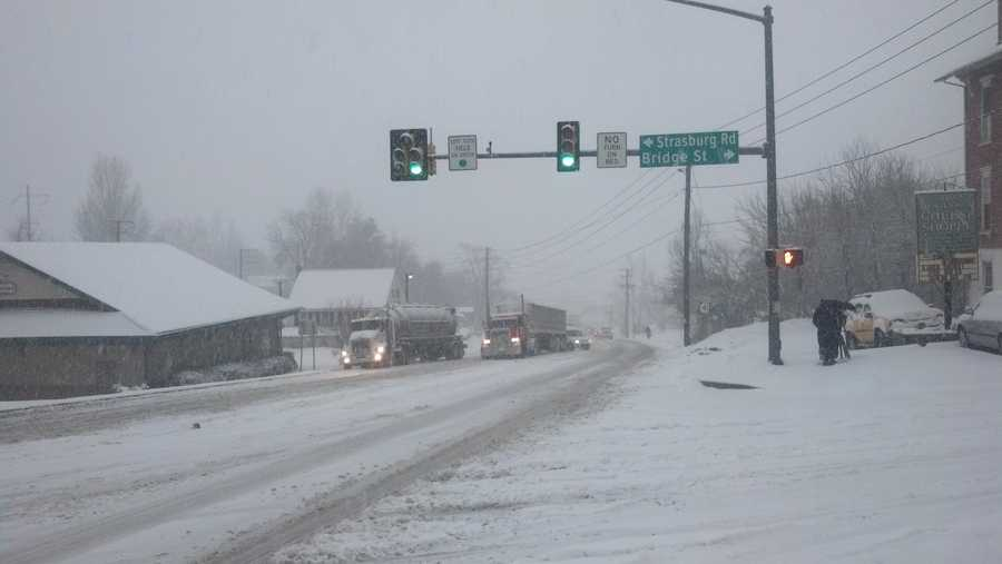 Gap, Lancaster County at Route 41 and Route 741 – roads are snow covered and tractor-trailers struggle to get up the hill. 8 a.m. Monday.