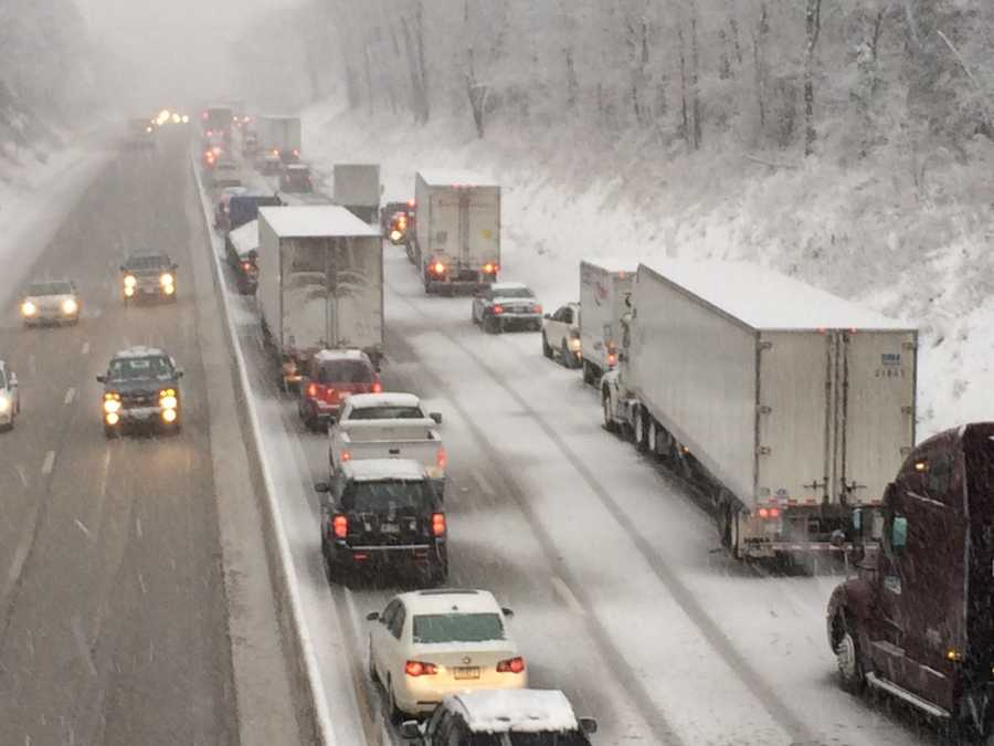 There were huge backups in the southbound lanes of I-83 in York County. This photo was taken from the Sheep Bridge overpass around 8:30 a.m. Monday.