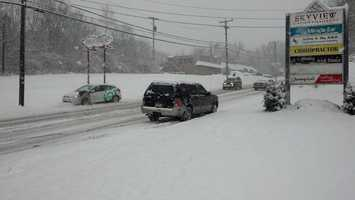 Cars hung up on State Street, Route 272, between Akron and Ephrata, Lancaster County, Monday, 9:30 a.m.