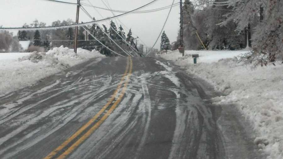 Rt. 222 south of Quarryville. Road closed, lines down, covered in ice. 8:10 a.m. Wednesday.