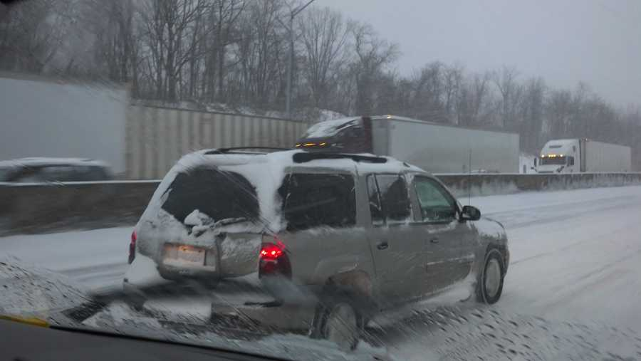 Traveling I 83 north, can see back up of tractor trailers and cars near jack knifed tractor trailer, 7:30 a.m. Thursday.
