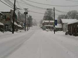 An empty State Street in Quarryville, 9 a.m. Thursday.