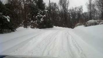River Road in Martic Township moments before the plow truck came through, 2:20 p.m. Thursday.