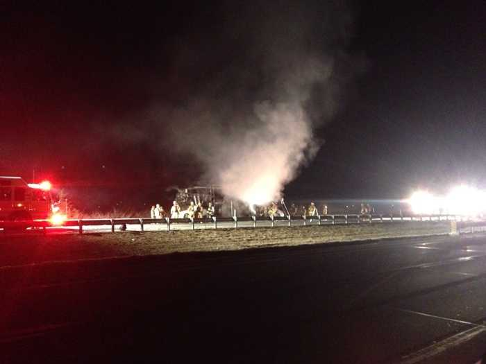 The truck driver was able to pull to the side of the road and detach the truck from the trailer. However, the fire quickly spread to the trailer's load of six Mercedes Benz vehicles, which were destroyed.