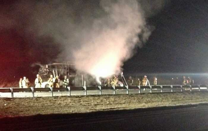 The fire started around 5 a.m. in the southbound lanes of Route 222 between the Adamstown exit and the Pa. Turnpike exit.