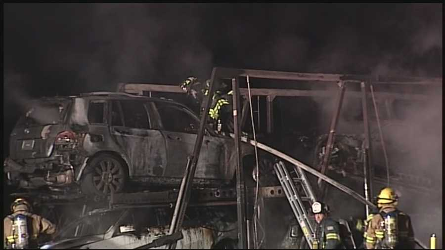 A tractor-trailer hauling Mercedes Benz automobiles caught fire Wednesday morning in Lancaster County, shutting down a portion of Route 222 for hours.