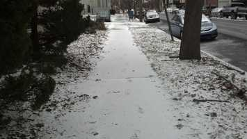 Monday morning, a dusting of snow near Front Street, Harrisburg.