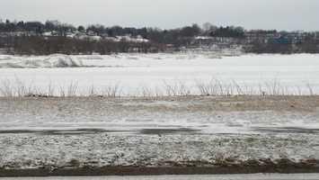 Monday morning, snow covered Susquehanna River near Harrisburg.