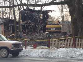 The fire caused the floors of the home to collapse into the basement.
