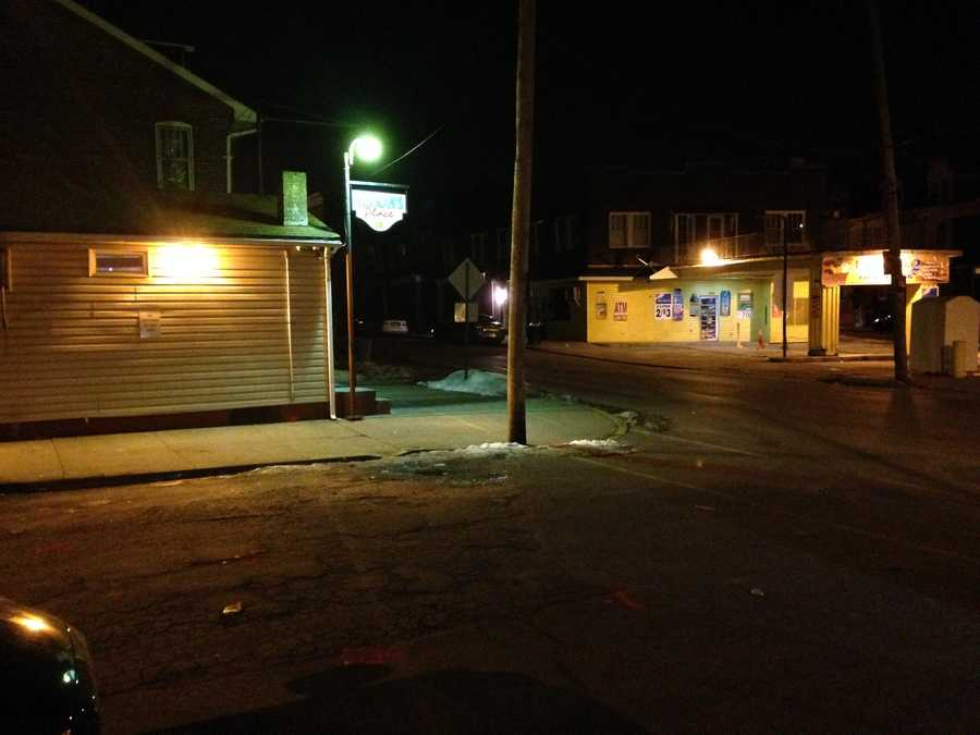 This photo shows the outside of the bar around 5 a.m. Thursday.