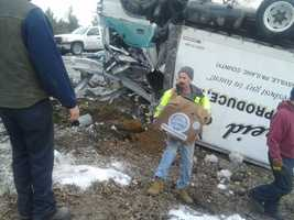 Crews worked to clear the scene after the crash.