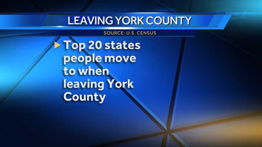 From 2007 to 2011, about 16,500 people moved out of York County. While most of them moved to another county in Pa., some left the state. News 8 looked into the census numbers to see the top 20 states they headed for. Click through the slideshow for a countdown.