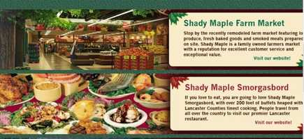 Get a taste of authentic PA Dutch cooking like chowchow (pickled vegetables) and broccoli-cauliflower salad. Places like Shady Maple Smorgasbord over a variety of Dutch food. Seewww.shady-maple.com.