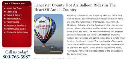 Ride in a hot air balloon! Located in Bird-in-Hand, PA, the U.S. Hot Air Balloon Team offers rides year round. Visit www.ushotairballoon.com to learn more.