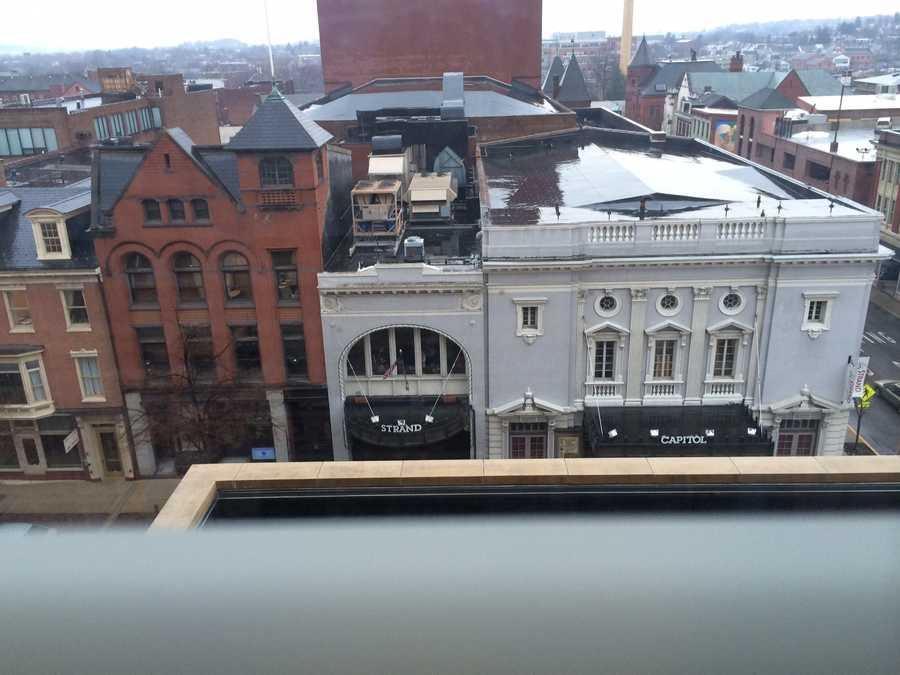 A view of the street from the fifth floor.