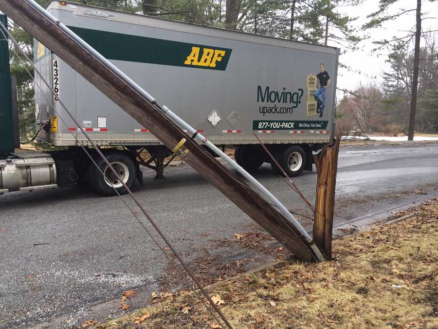 A delivery truck pulled down wires and snapped a utility pole Wednesday afternoon in York County.