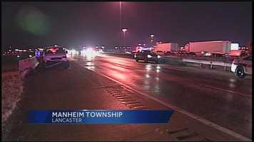 Three people were taken to the hospital after a 10-car pileup late Tuesday night.