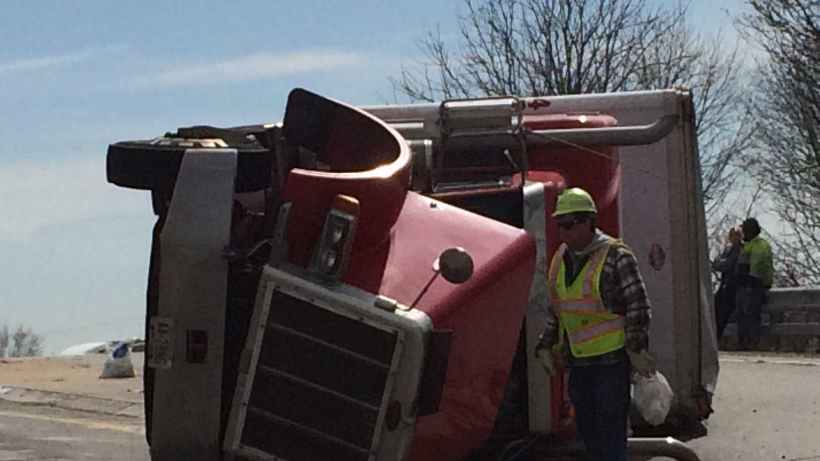 An overturned tractor-trailer is causing problems at Route 30 and Interstate 83 in Manchester Township, York County.