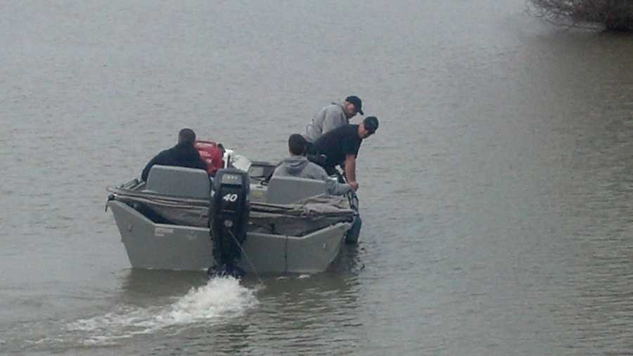 The boat and crew are from the Pennsylvania State Police.